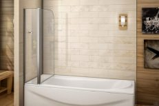 Bath Screen with Fixed Glass Panel