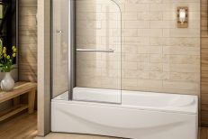 Bath Screen with Fixed Panel and Rail